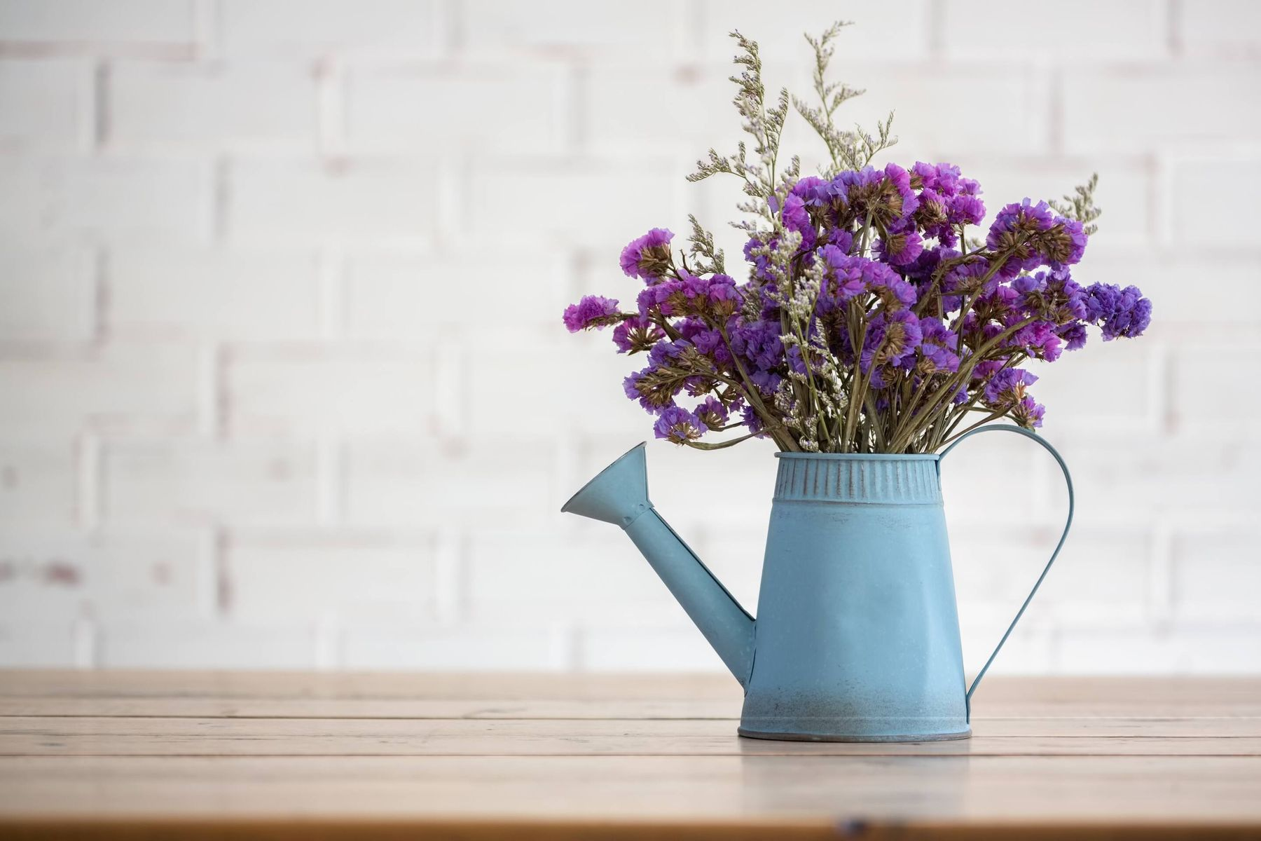 purple flowers in a blue jug