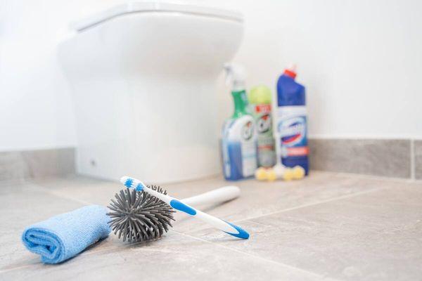 Tuvalet temizliği, fırçalar, deterjan