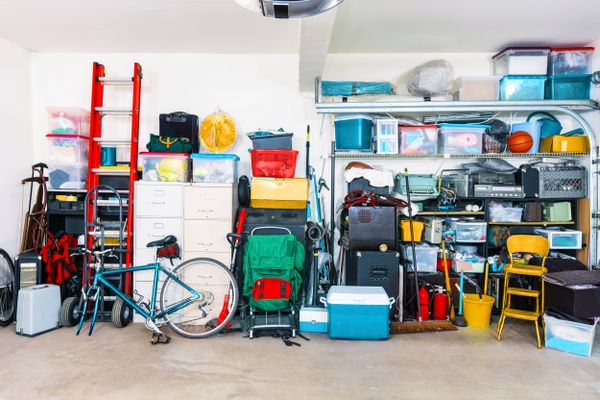 organized garage with shelves and boxes