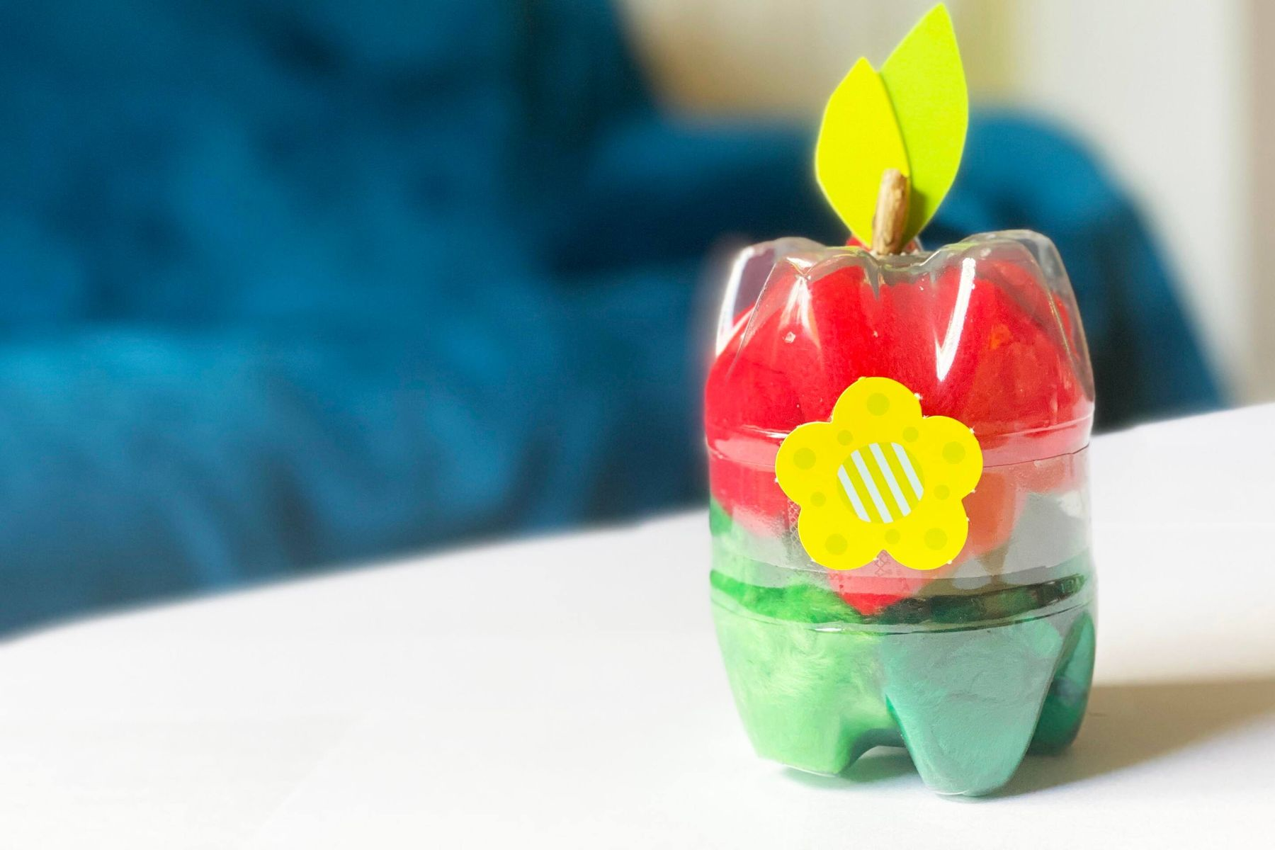 Plastic bottle turned into an apple gift box