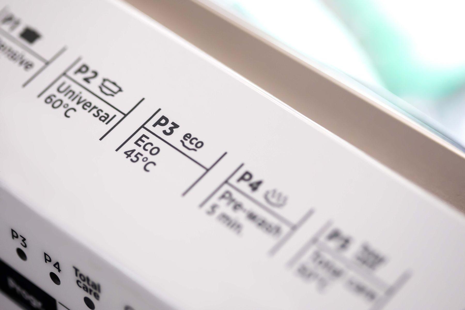 Dishwasher label showing eco energy-saving setting