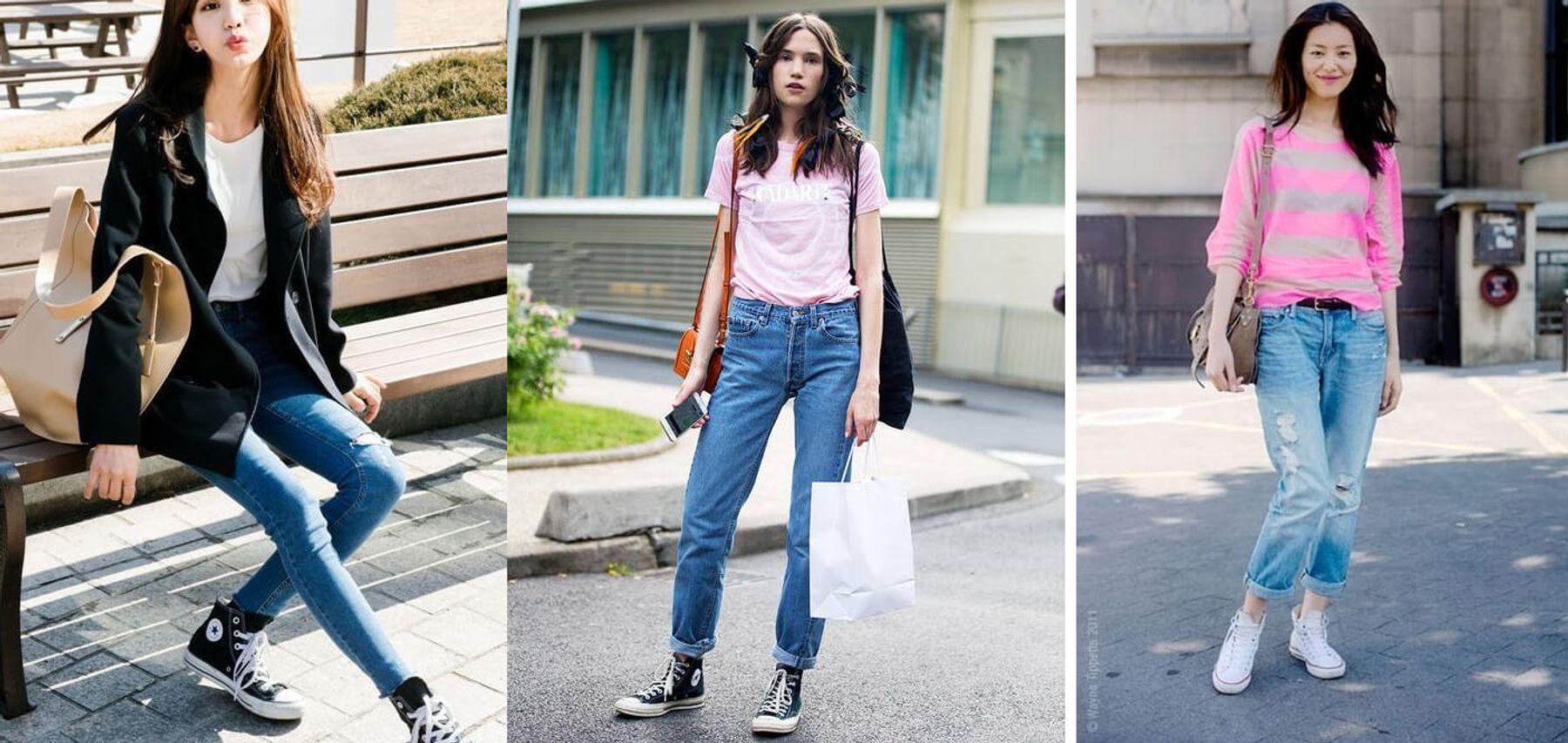 Giày converse cổ cao với áo thun và quần jeans nữ