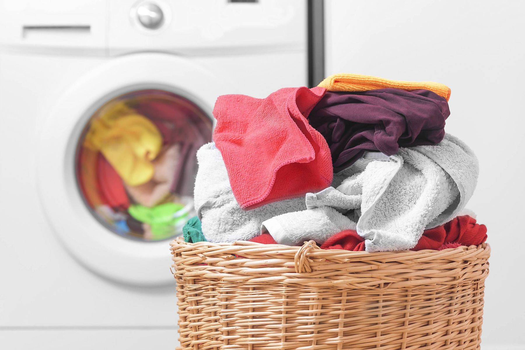 Colourful laundry basket for tips to make laundry easier