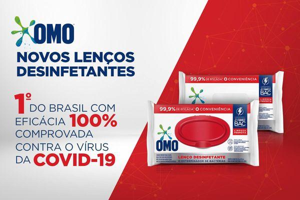 Lenço Umedecido OMO Primeiro produto com eficácia comprovada contra o covid-19