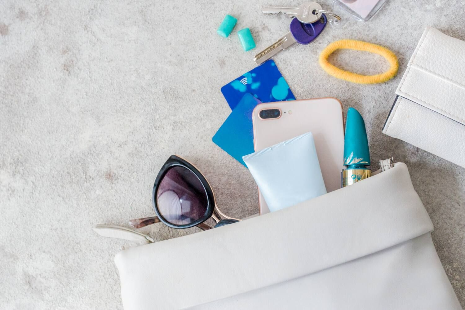 personal objects following of a bag