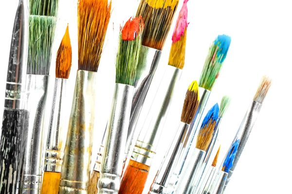 Selection of used paint brushes to illustrate how to clean paint brushes