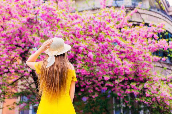 moça-de-vestido-amarelo-em-frente-arvore-florida