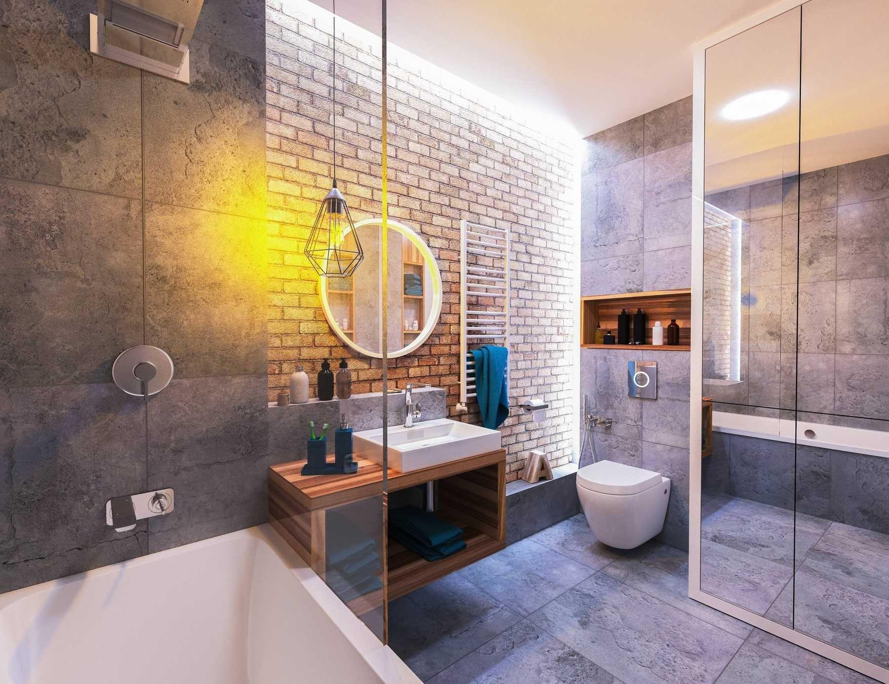 Mẫu nhà vệ sinh hiện đại chủ đề tông xám trắng và lắp các thiết bị vệ sinh hiện đại