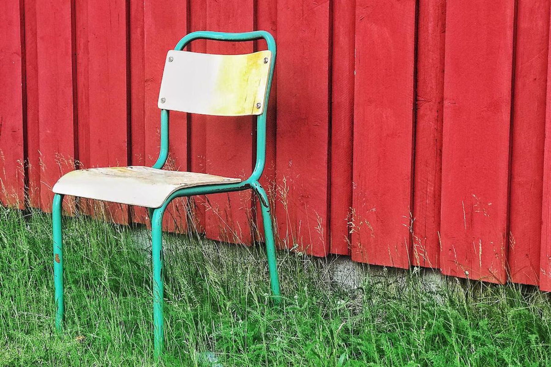 Metal and wood chair outside