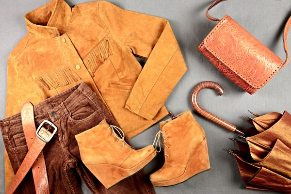 selection of suede clothing and accessories
