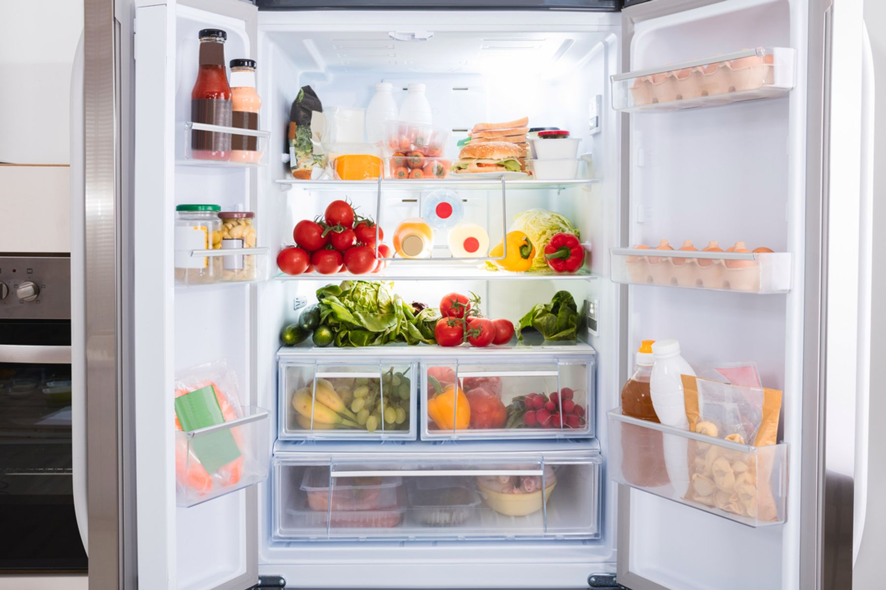 Image of refrigerator with various foods
