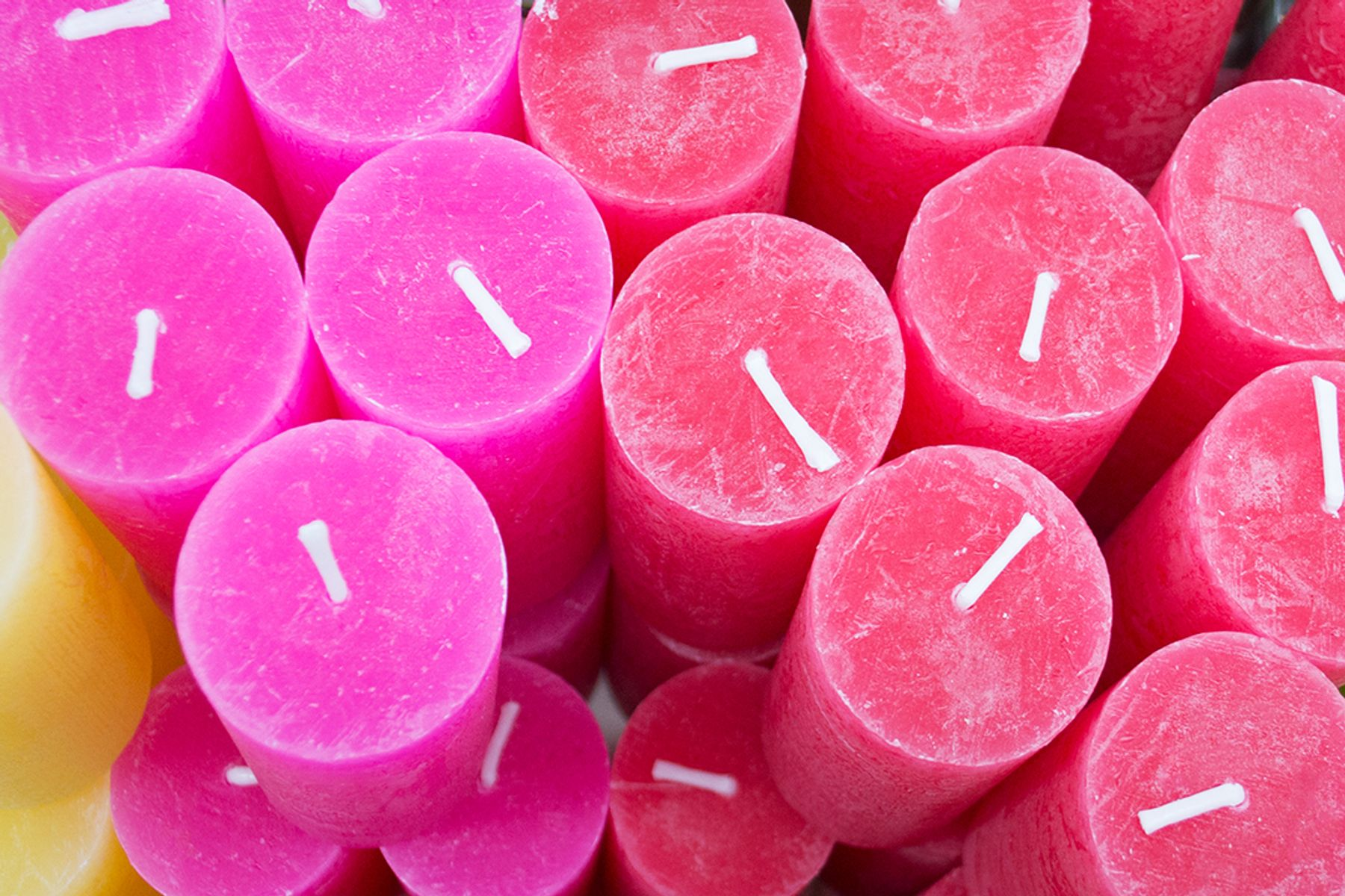 selection of unmelted pink candles