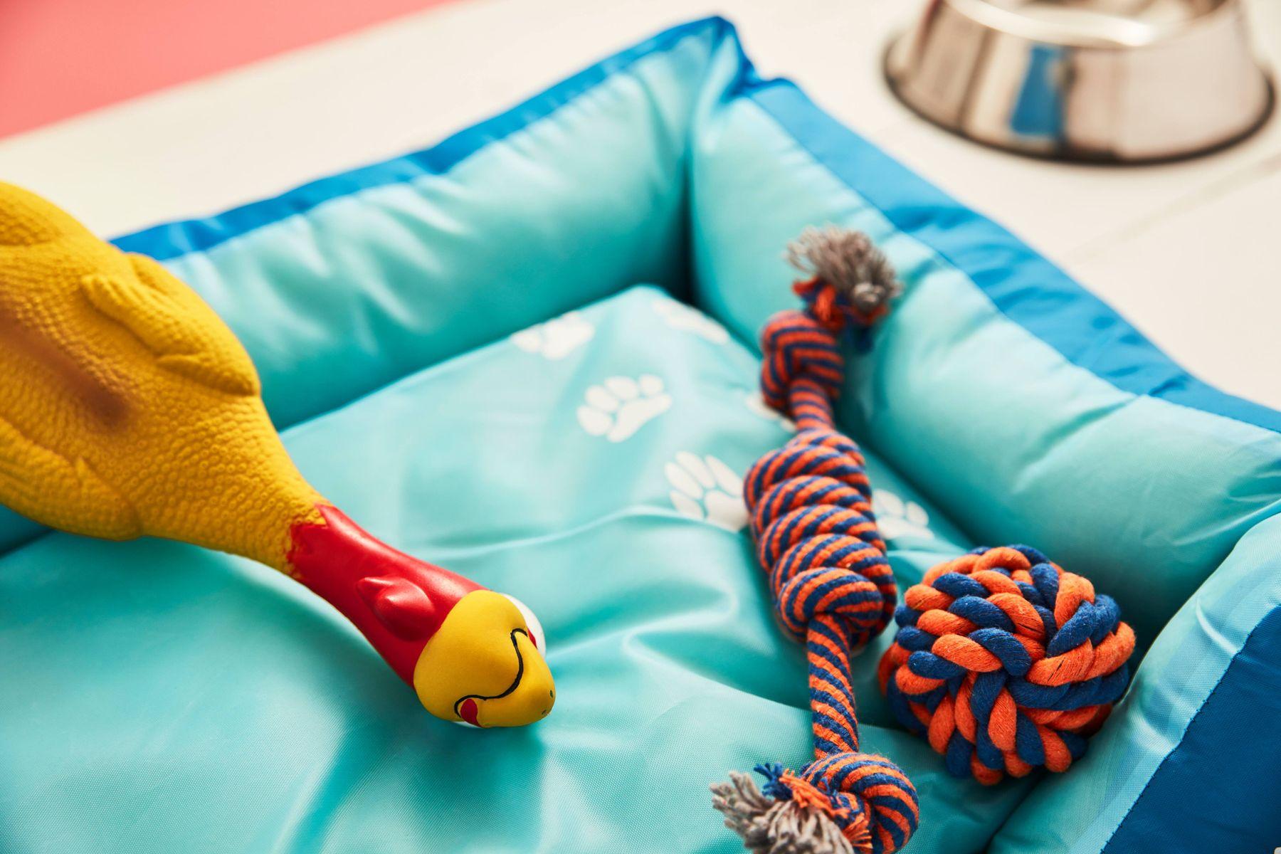 DIY dog toys in a blue dog bed