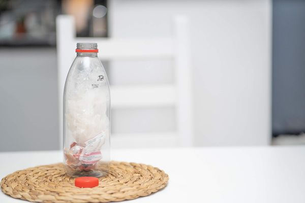 Ecobrick with recycled plastic bottle