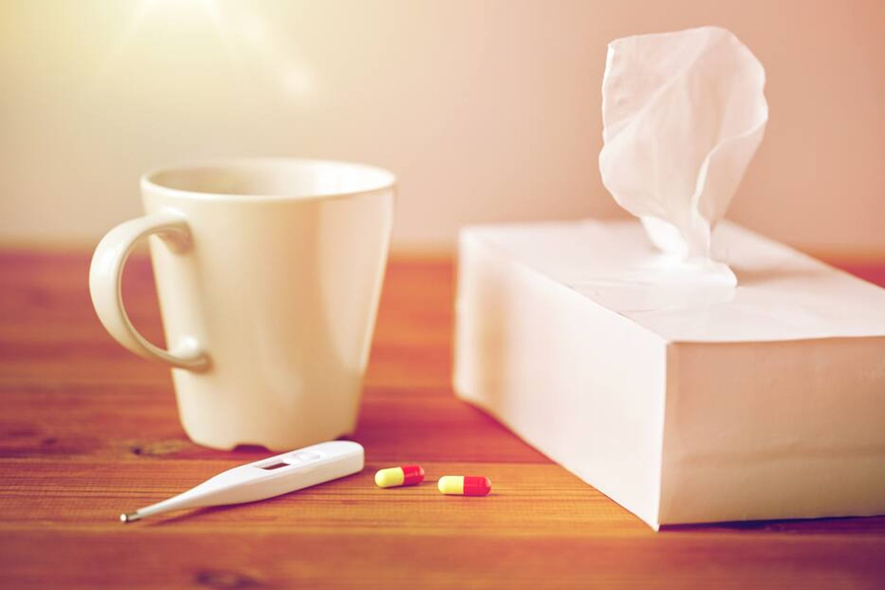 Tissues and tea mug