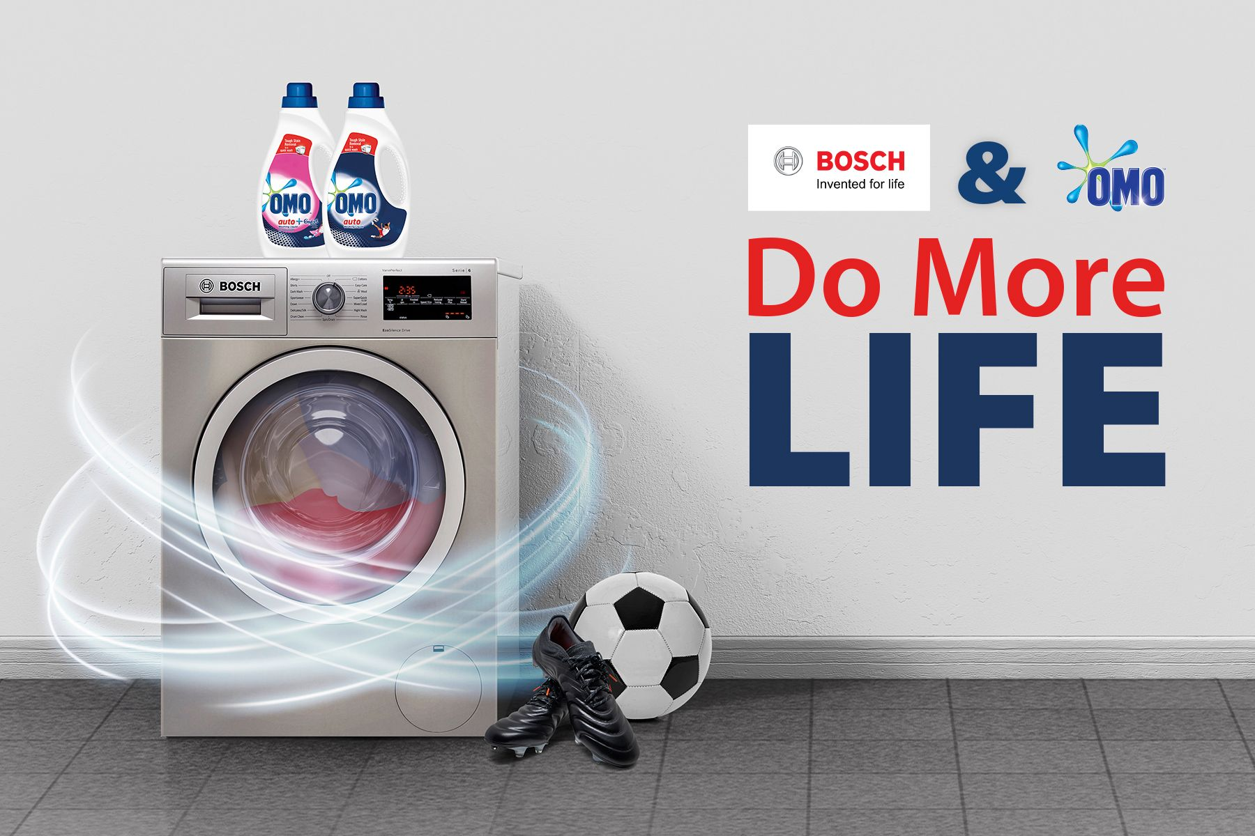 OMO and Bosch products and logos, text: