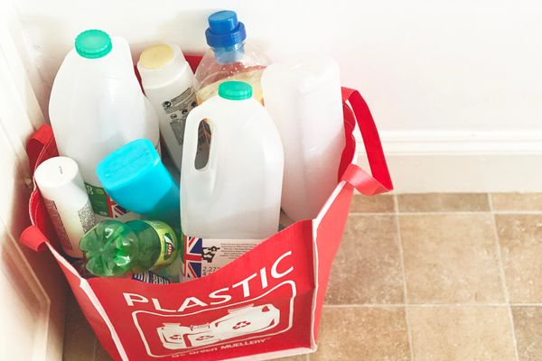 bag with plastic packaging for recycling