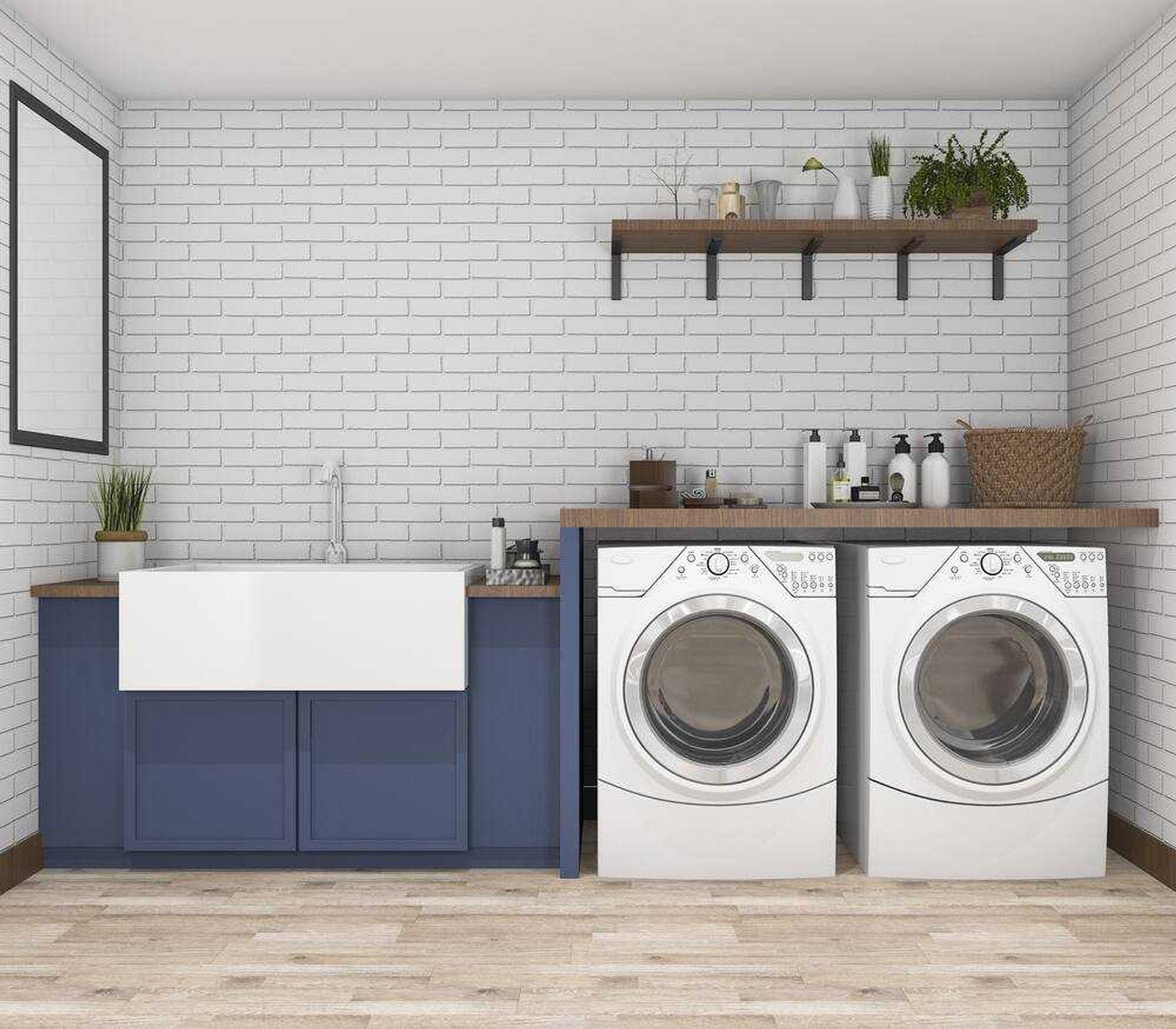 Bạn nên xây dựng không gian giặt giũ riêng kế bên nhà vệ sinh để bảo quản thiết bị máy giặt tốt hơn. Nếu để máy giặt trong nhà vệ sinh dễ khiến các bo mạch bị dính nước và gây ra hư hỏng.