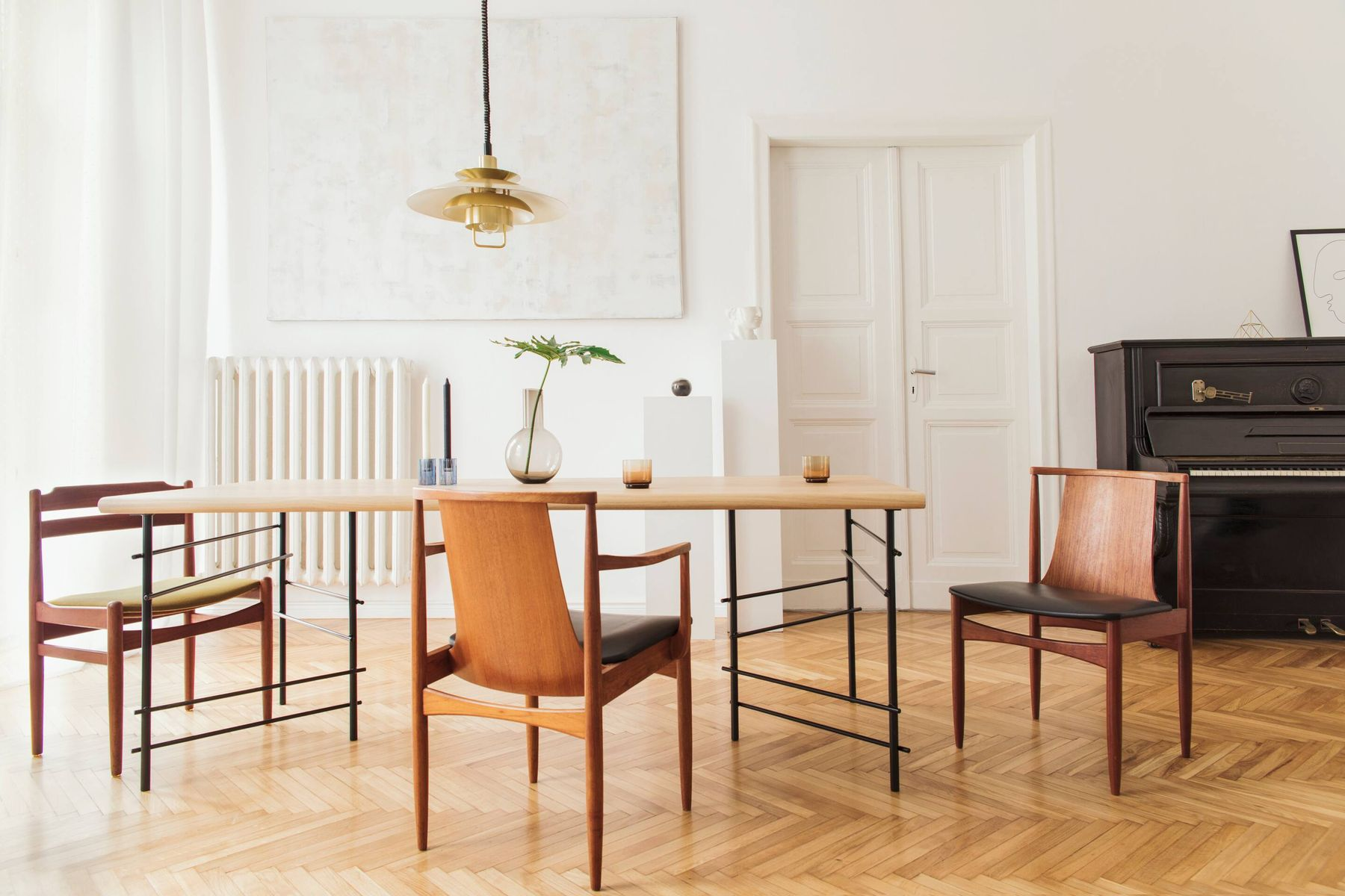 Shiny wooden floor, chairs and table