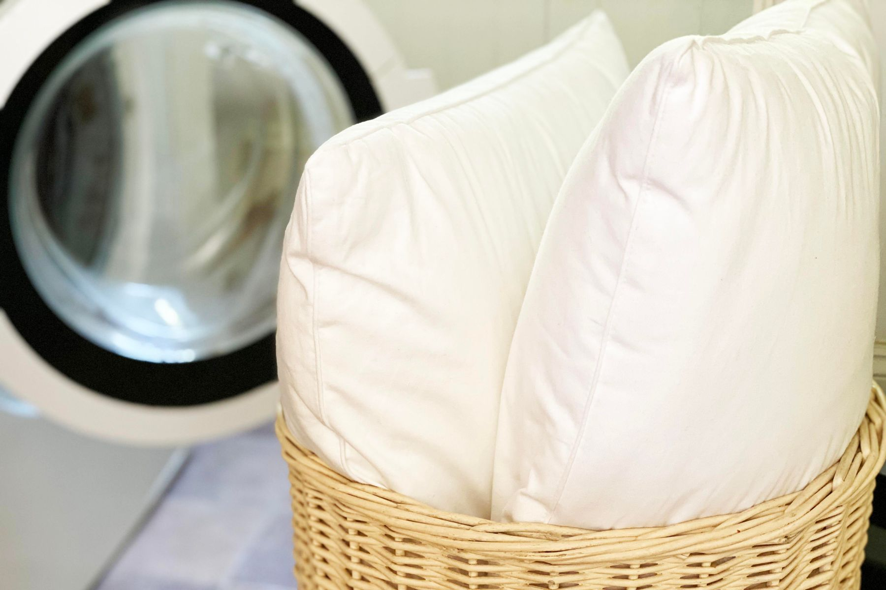Two pillows in a basket
