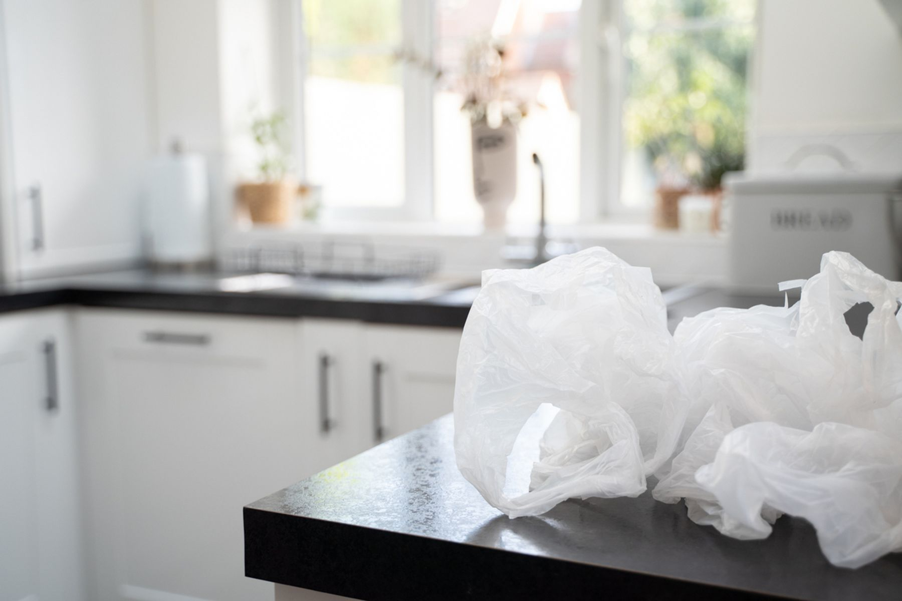 Plastic bags on a kitchen counter