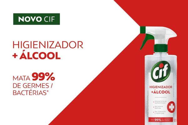 Montagem com produto CIF Higienizador + Álcool em fundo branco e vermelho