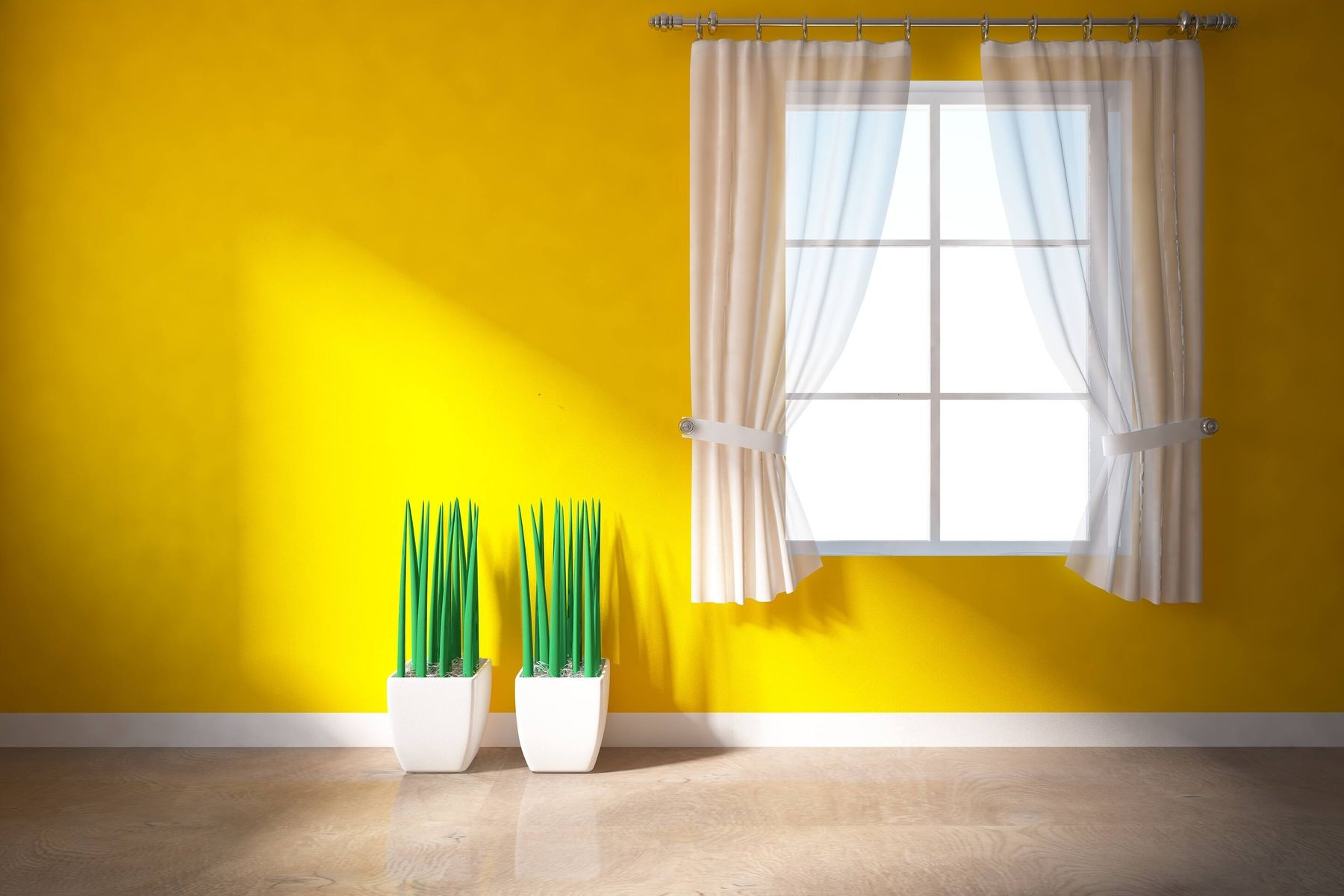 a window with white curtains in a yellow wall