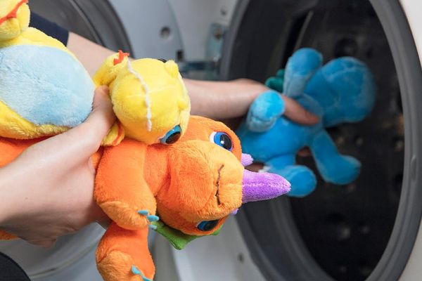 picture of stuffed animals being loaded into a dishwasher for ways to make your laundry easy and fast