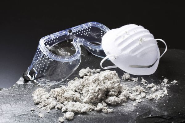 asbestos powder and a mask