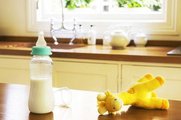 Mamadeira com leite sobre a mesa ao lado da girafa de pelúcia