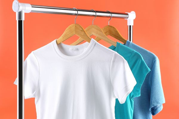 cotton tshirts on clothing rack
