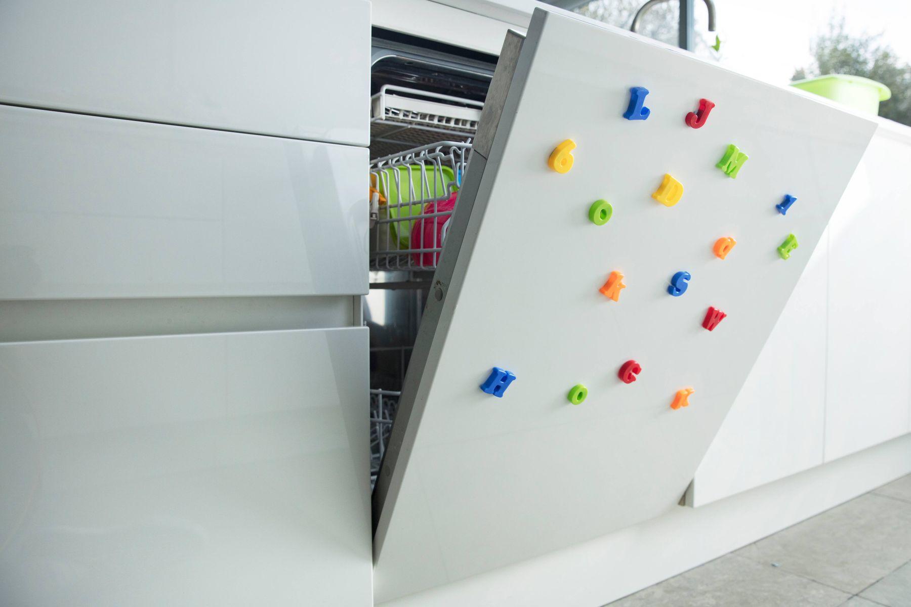 A blocked dishwasher left ajar