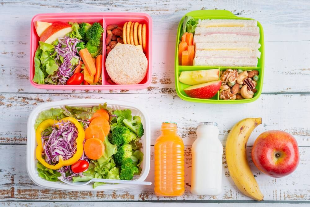 Colourful lunchbox with food inside