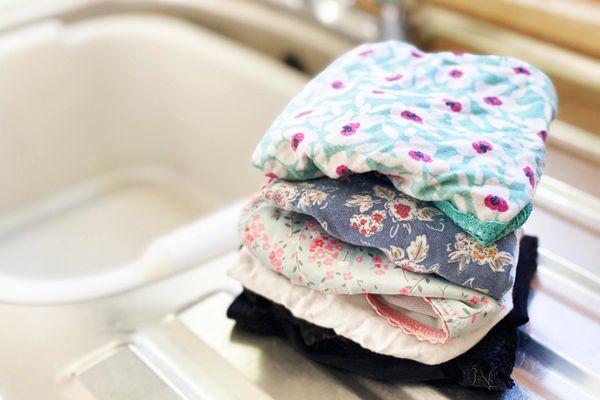 Underwear folded by a kitchen sink