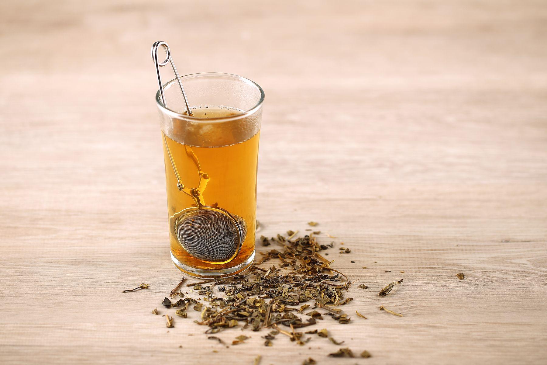 tea in a transparent glass