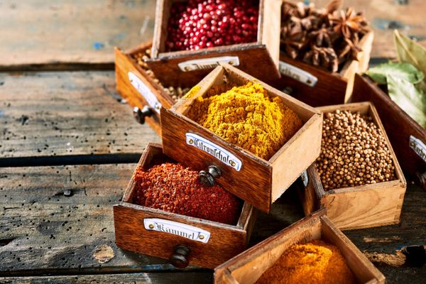 boxes with different spices