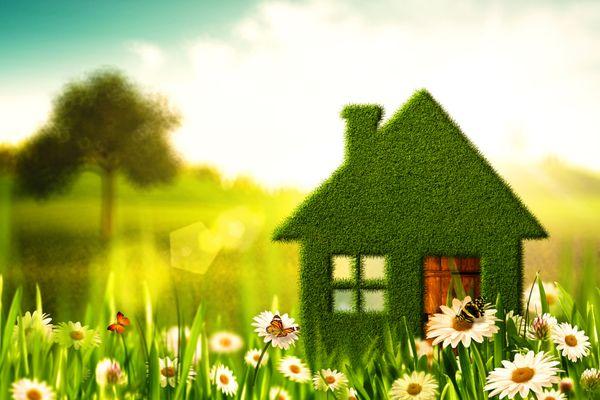 Miniatura de casa verde com chaminé no meio de um jardim com flores e árvores
