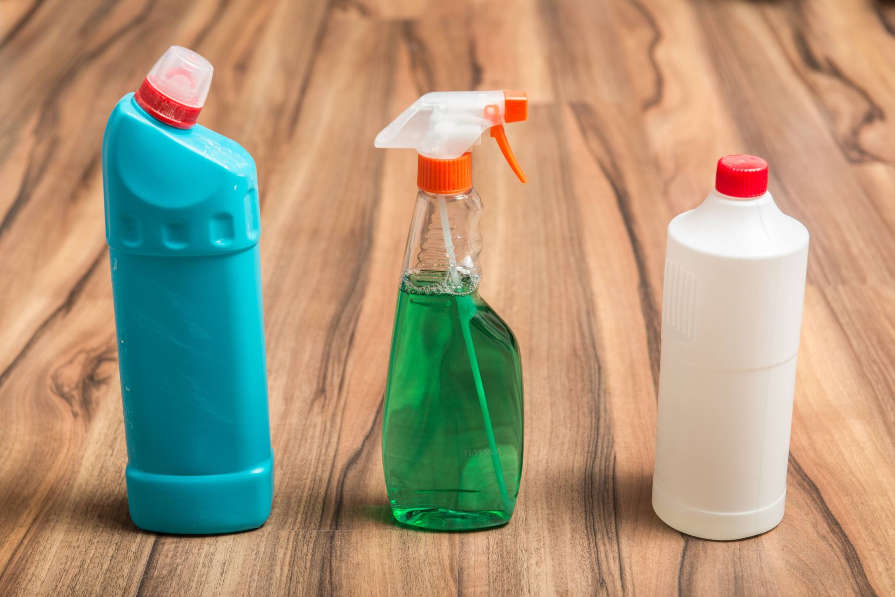 cleaning bottles lined up for ingredients FAQ