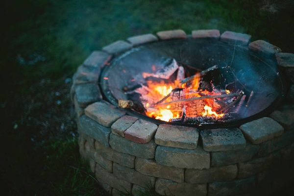 diy fire pit in the garden