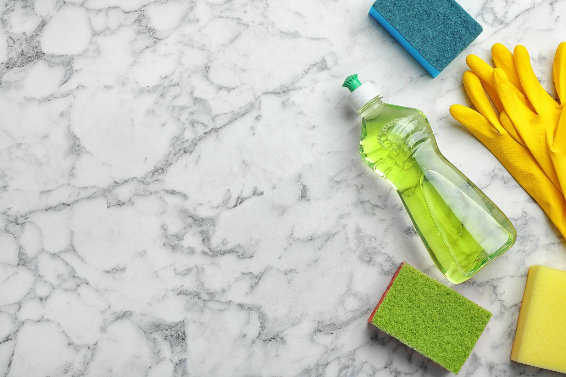 marble worktop with cleaning products