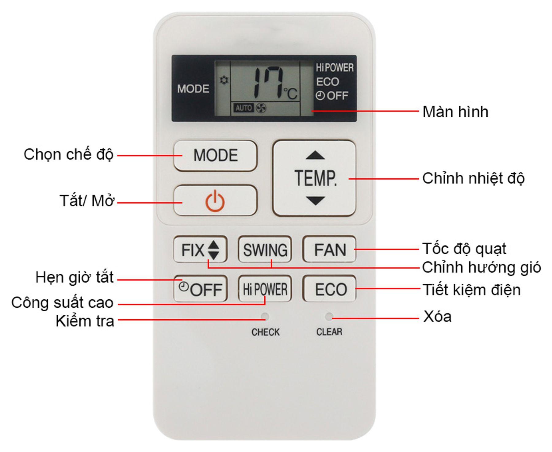 Bật, điều chỉnh remote máy lạnh đủ công suất