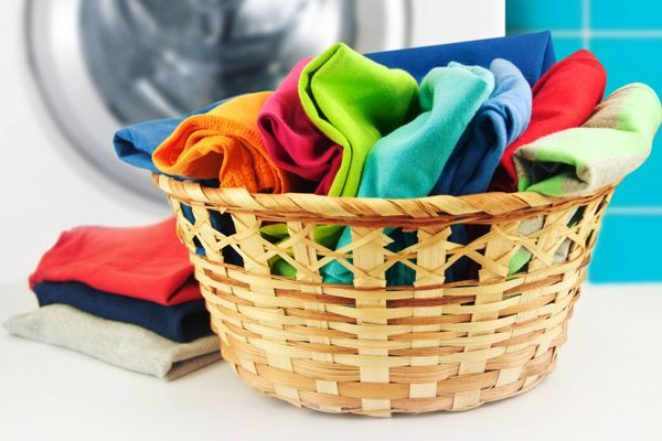 basket of colourful clothes