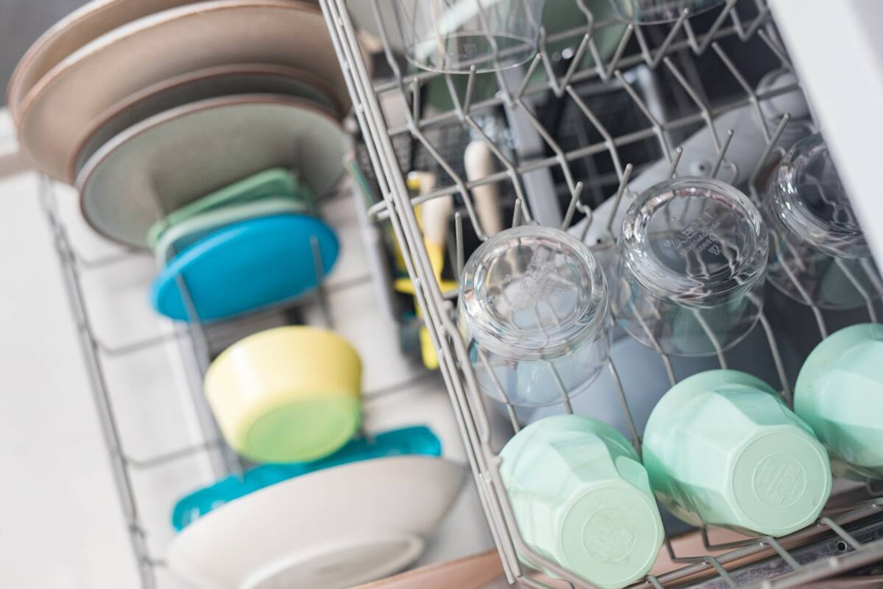 A dishwasher filled with dishes