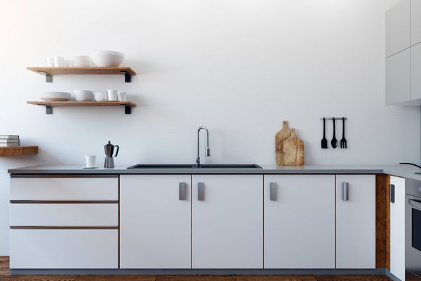 white kitchen cupboards and shelves