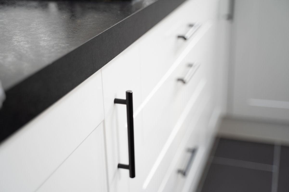 Close up of kitchen cabinets