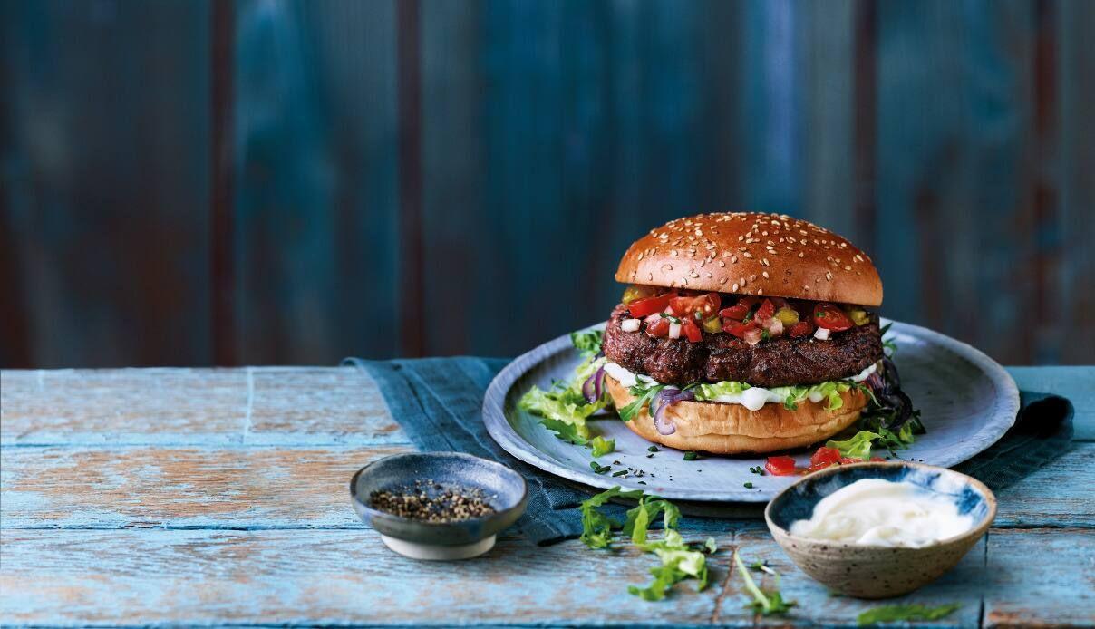 A hamburger on a table
