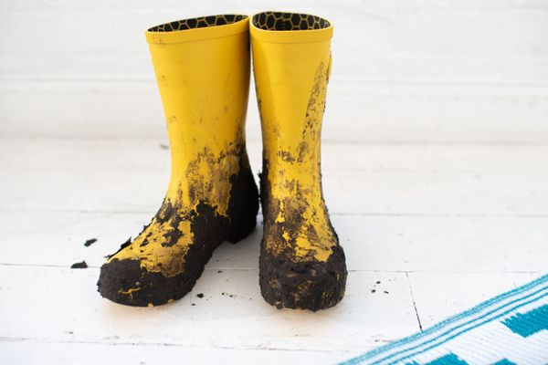 Muddy yellow wellington boots for how to clean anything you ruined while camping
