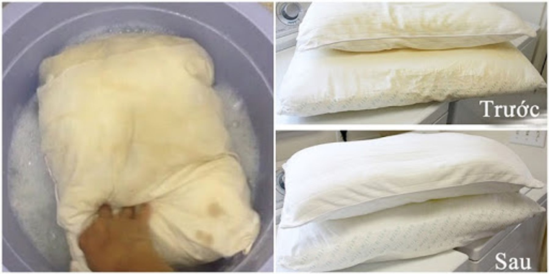 Cách giặt ruột gối bằng tay