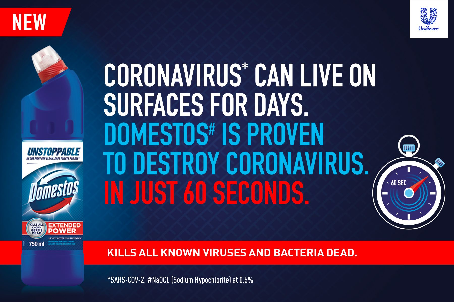 CORONAVIRUS* CAN LIVE 0N SURFACES FOR DAYS.  DOMESTOS IS PROVEN TO DESTROY CORONAVIRUS IN JUST 60 SECONDS. Image of Domestos pack shot with dark blue background.