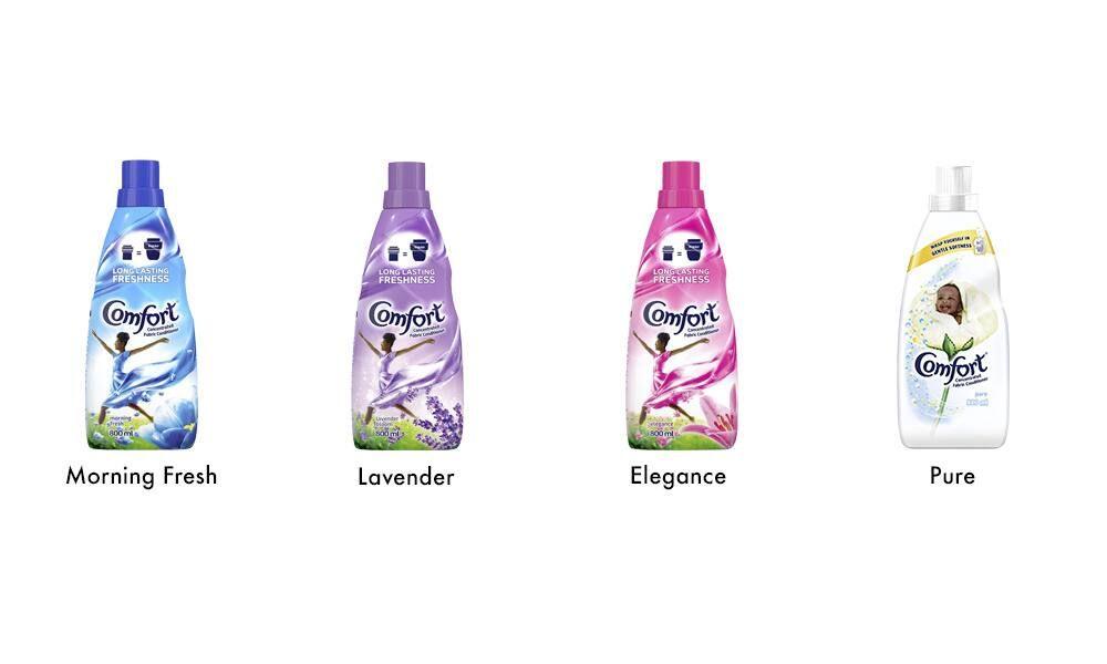 4 x Comfort Bottles Morning Fresh Lavender Elegance Pure